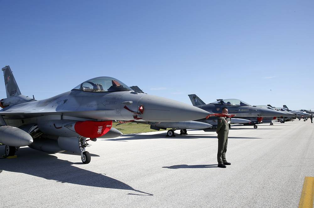 F16 jet fighter jet parked on the tarmac during the opening ceremony of NATO Trident Juncture exercise 2015, in Trapani, Italy