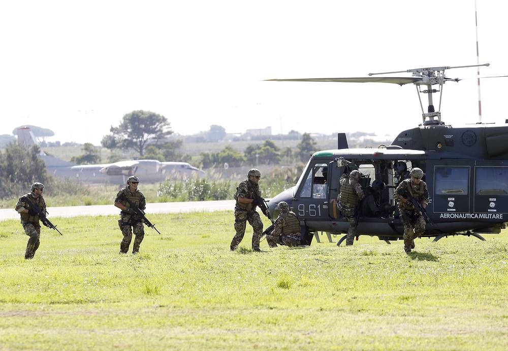 Soldiers at Birgi airbase in Trapani, Italy