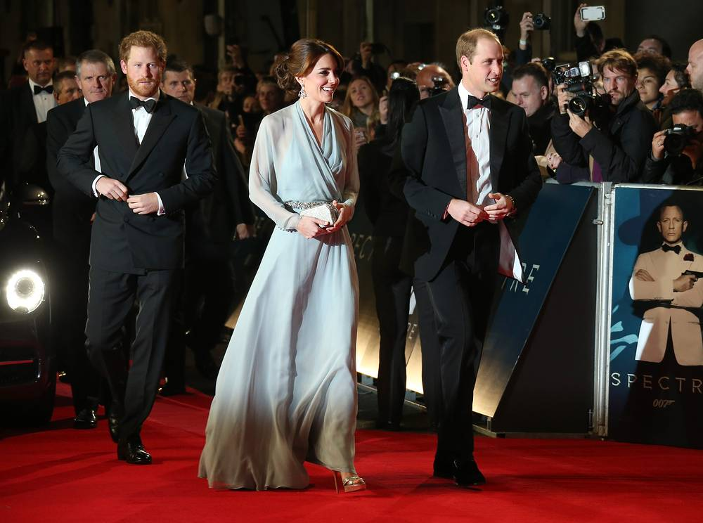 Britain's Prince Harry and the Duchess and Duke of Cambridge at the World Premiere of Spectre at the Royal Albert Hall in London
