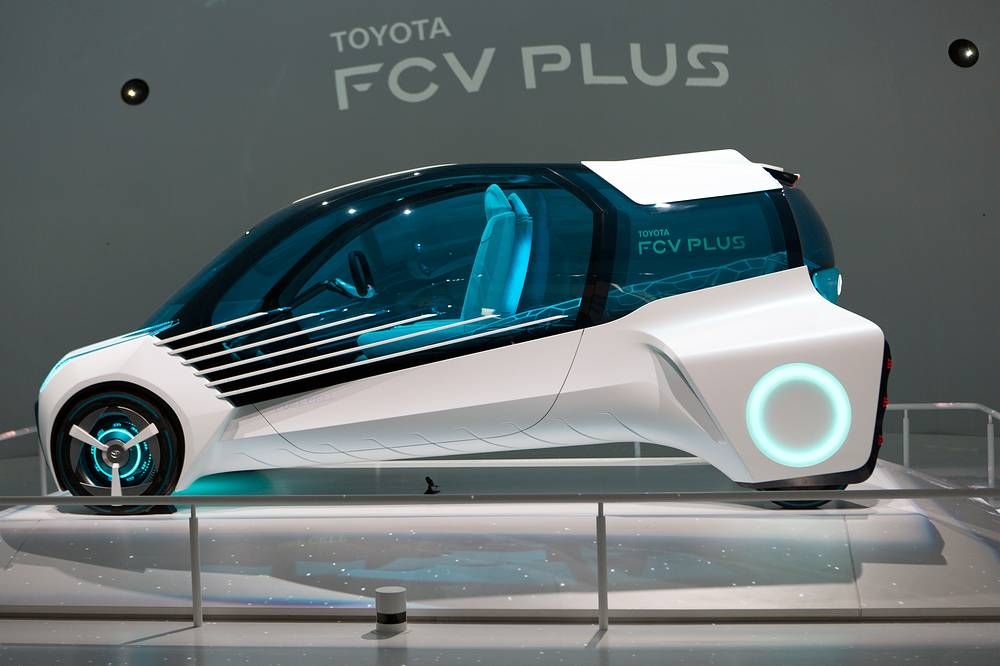 Toyota FCV Plus vehicle powered by hydrogen fuel cell