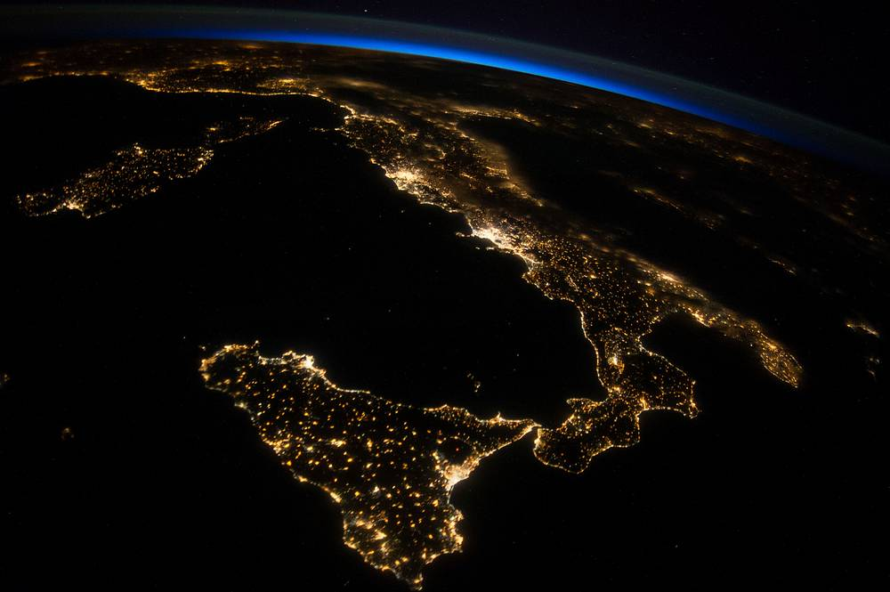 Italy and Sicily, taken from ISS, July 26, 2014