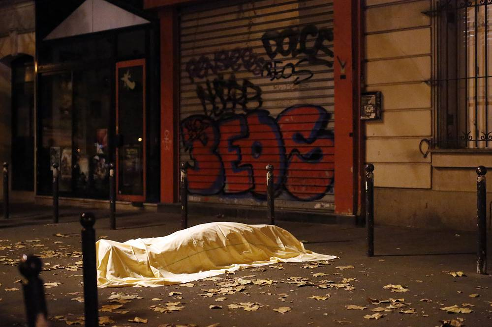 A victim outside the Bataclan theater