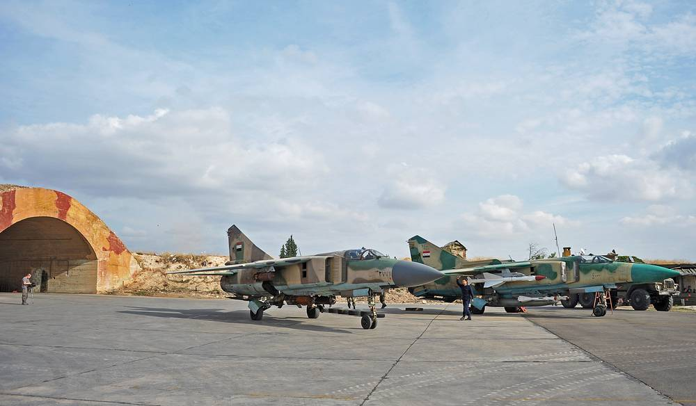 At a Syrian air base