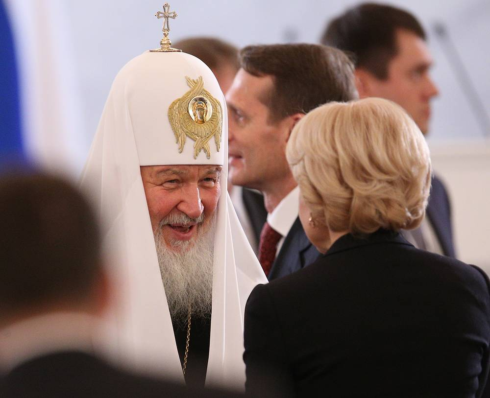 Patriarch Kirill (L) of Moscow and All Russia seen ahead of Russian President Vladimir Putin's annual address