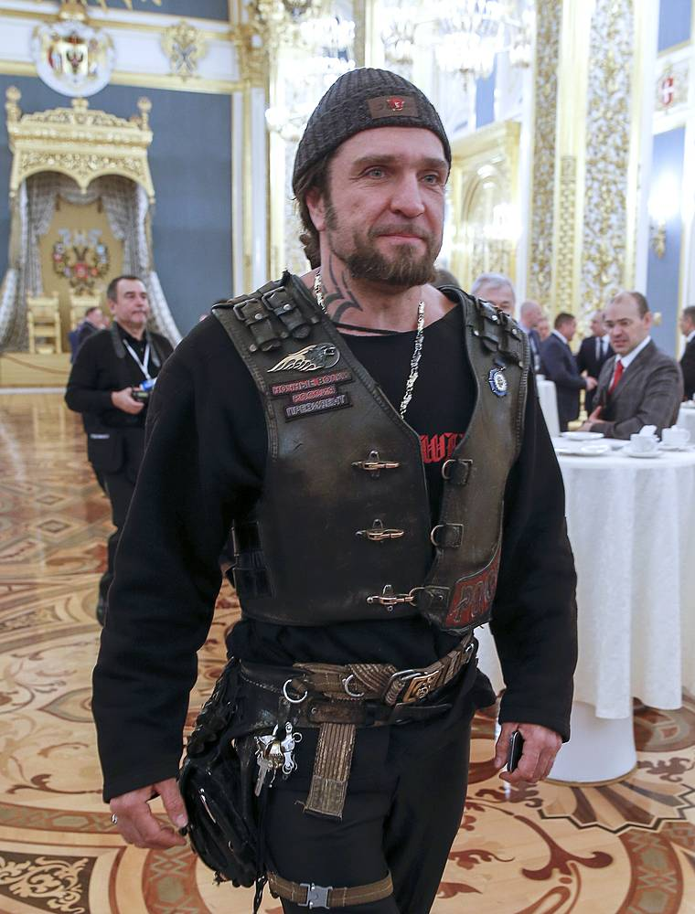 Night Wolves motorcycle club leader Alexander Zaldostanov aka Khirurg (Surgeon) ahead of the address