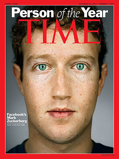 "In 2010 Facebook co-founder Mark Zuckerberg was named Person of the Year. Zuckerberg was honoured ""for creating a new system of exchanging information; and for changing how we all live our lives"""