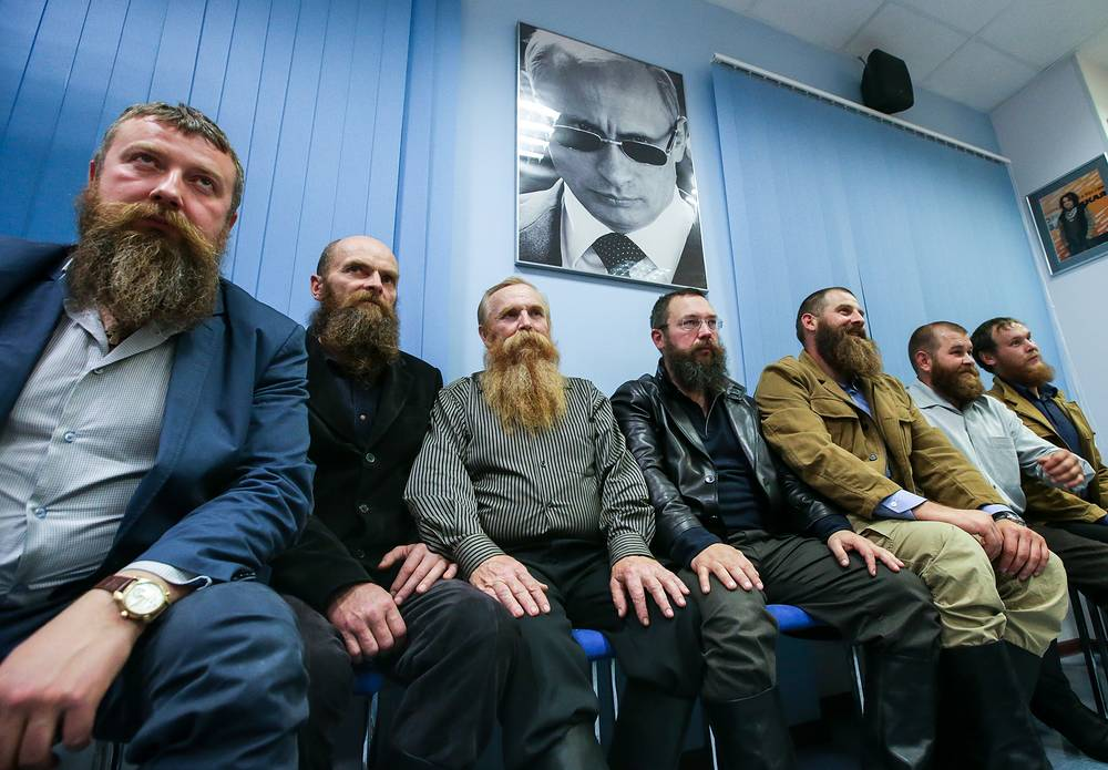 Russian businessman and farmer German Sterligov with farm owners who have decided to run for parliament