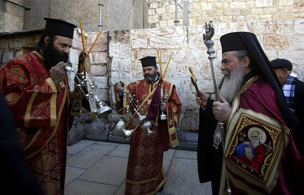 Greek Orthodox Patriarch of Jerusalem Theophilos III at the Church of the Nativity in the biblical West Bank town of Bethlehem
