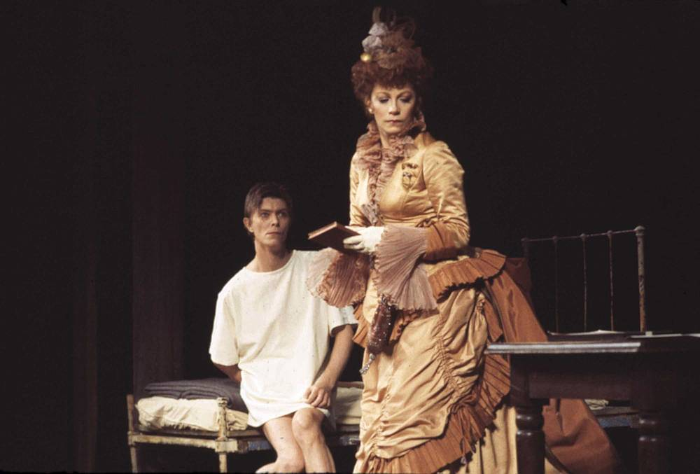 "David Bowie seen rehearsing a scene in the Broadway show ""The Elephant Man"" with co-star Patricia Elliott, 1980"