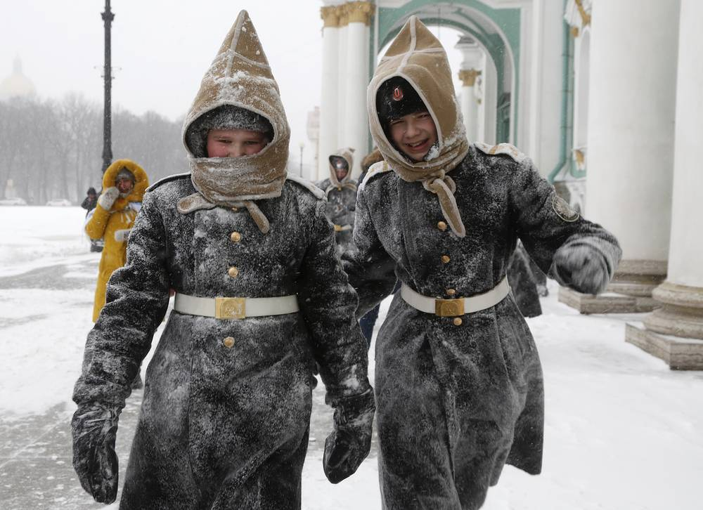 Pupils of Navy cadet classes walking in snow in St.Petersburg