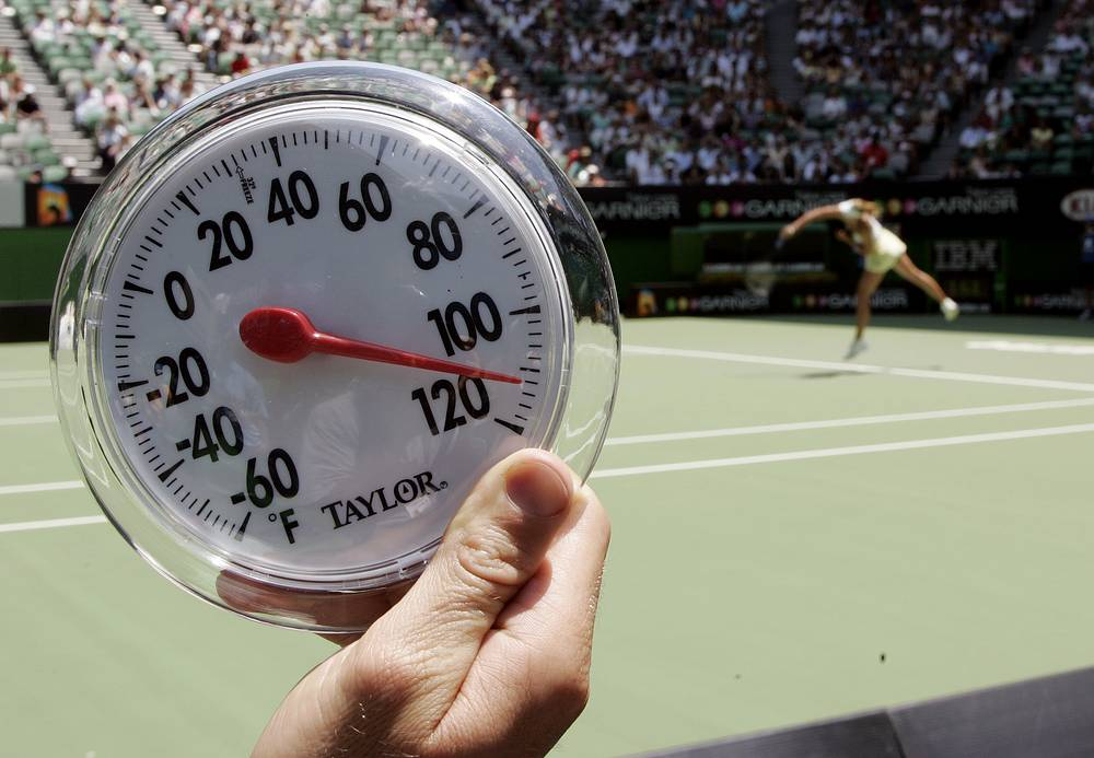 Australian Open tournament is famous for its extreme heat as it is summer in Australia from December 1 to the end of February. Photo: Thermometer showing the on court temperature at approximately 116 degrees Fahrenheit (46.7 degree Celsius) during the first round match between Russia's Maria Sharapova and France's Camille Pin at the Australian Open tennis tournament in Melbourne, 2007