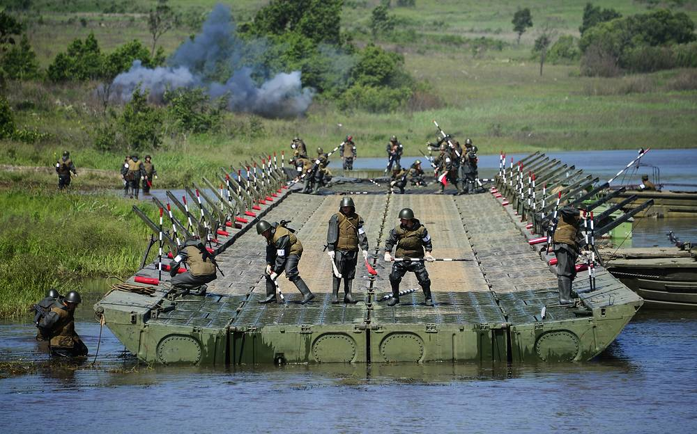 Military exercises conducted by the 5th Army's pontoon bridge units on organization and maintenance of assault troop and bridge crossings in Primorye territory