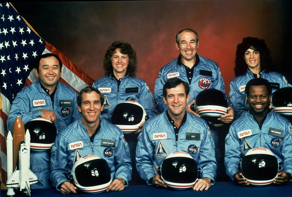 Crew of the space shuttle Challenger mission 51L. All seven members of the crew were killed when the shuttle exploded during launch on Jan. 28, 1986. From front left: astronauts Michael J. Smith, Francis R. (Dick) Scobee, and Ronald E. McNair. Rear left are: Ellison Onizuka, Christa McAuliffe, Gregory Jarvis, and Judith Resnik