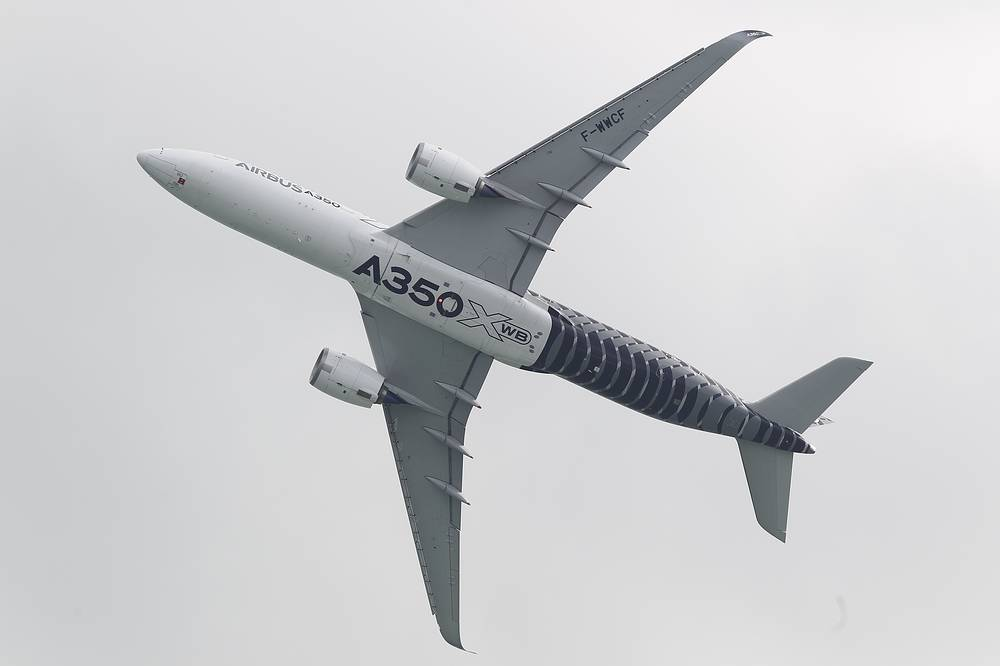 An Airbus A350 commercial jet