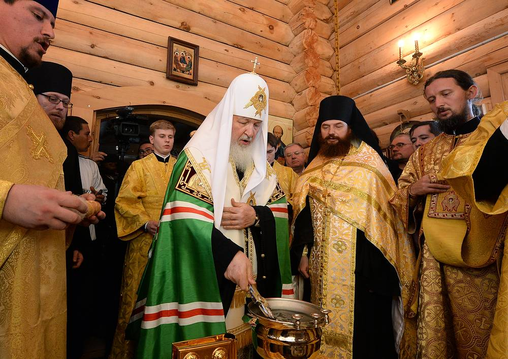 Patriarch Kirill serving a Divine Liturgy at the Holy Trinity chapel, on Waterloo Island
