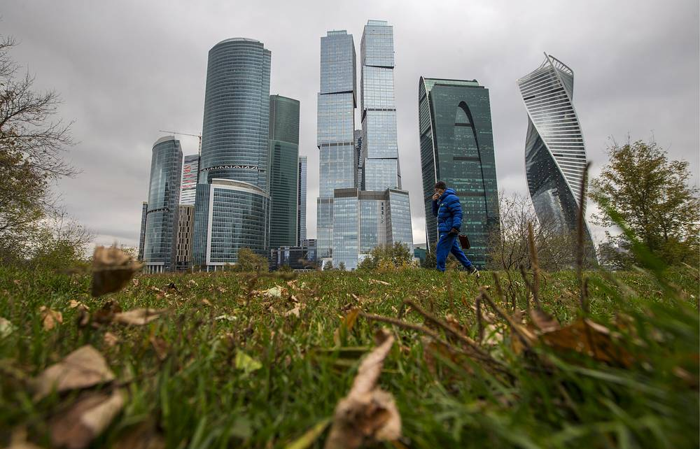 A view of Moscow International Business Centre skyscrapers from across the Moskva River