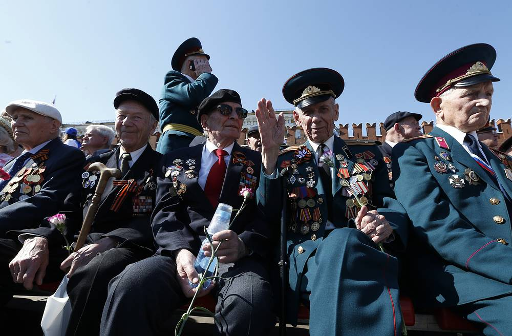War veterans during a Victory Day military parade in Moscow's Red Square marking the 71st anniversary of the Victory over Nazi Germany in World War II.