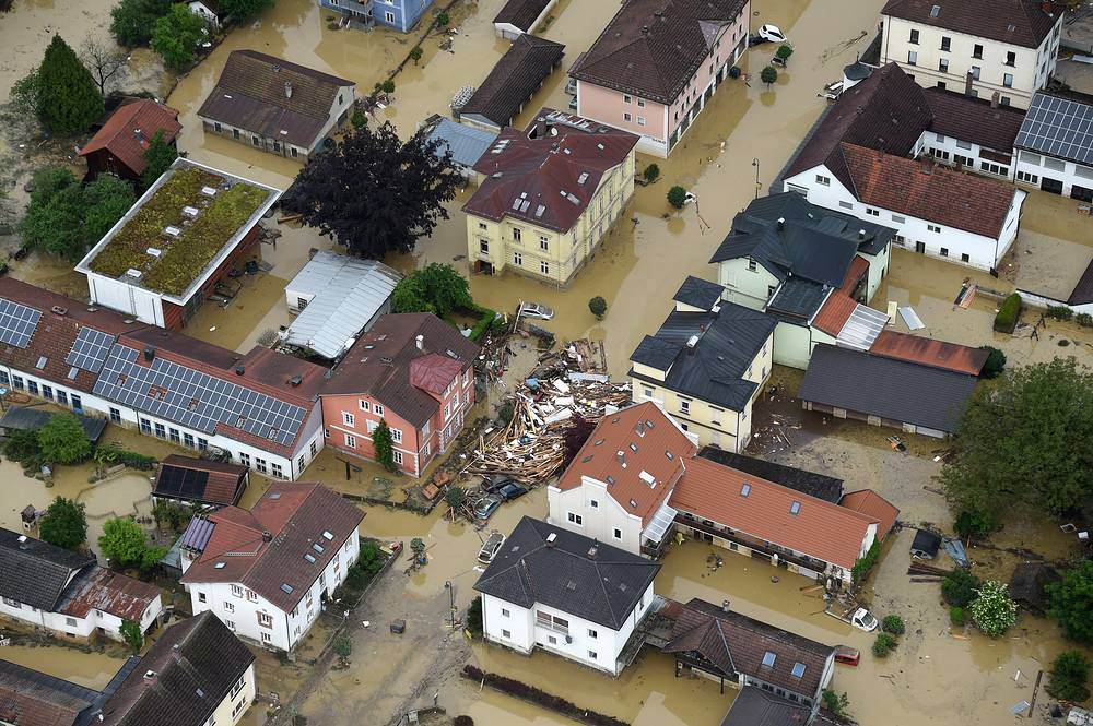 Flooded streets and damages in Simbach am Inn, southern Germany