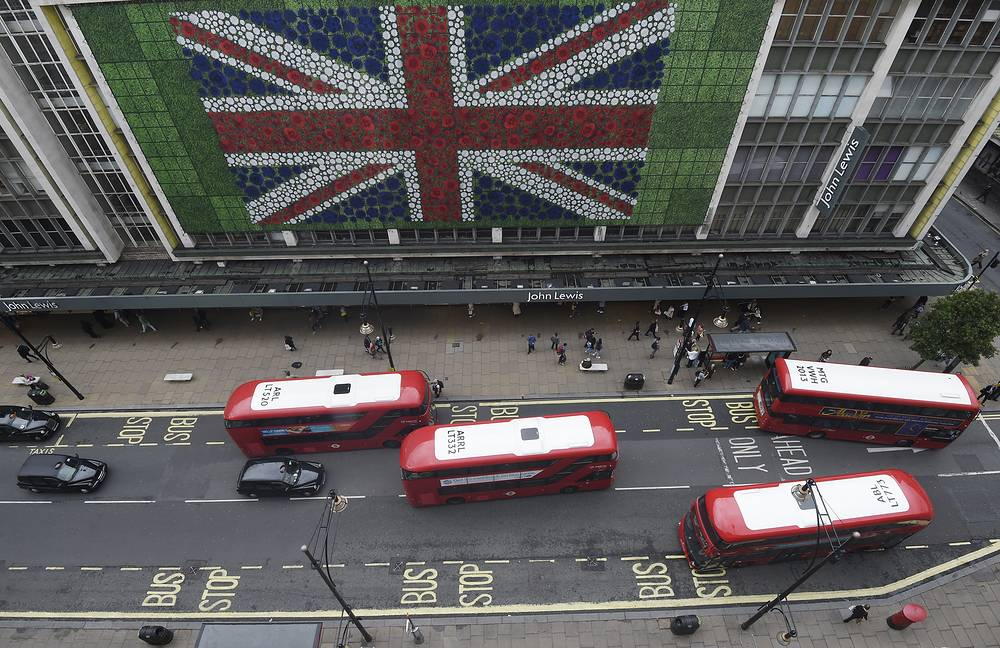 A giant Union Jack in Oxford Street in London