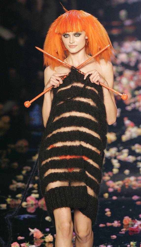 Model wearing a creation by French designer Jean Paul Gaultier to celebrate the 40th anniversary of the Sonia Rykiel House, 2008