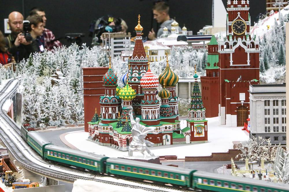 A mockup of Moscow's Kremlin and St Basil's Cathedral