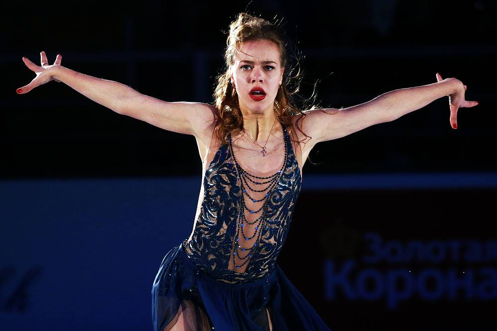 Gold medalist in ladies's singles Anna Pogorilaya of Russia performs during the exhibition gala event at Russia Grand Prix, the third of six events in the 2016–17 ISU Grand Prix of Figure Skating