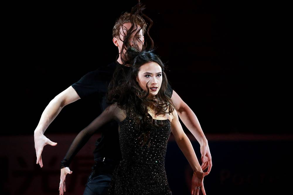 Silver medallists in ice dancing Madison Chock and Evan Bates of the United States