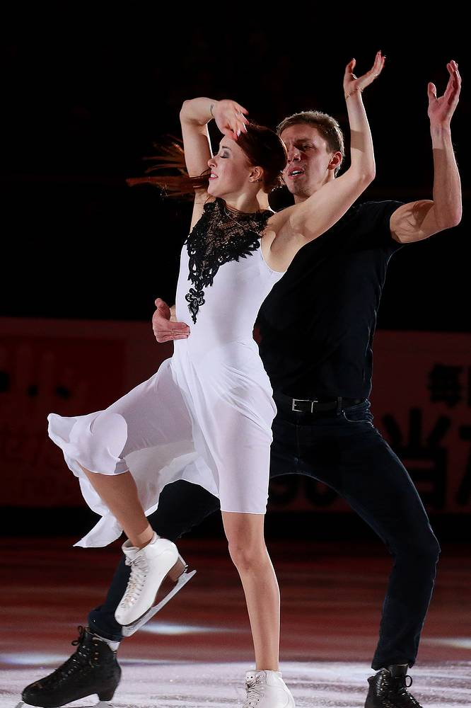 Gold medallists in ice dancing Ekaterina Bobrova and Dmitri Soloviev of Russia