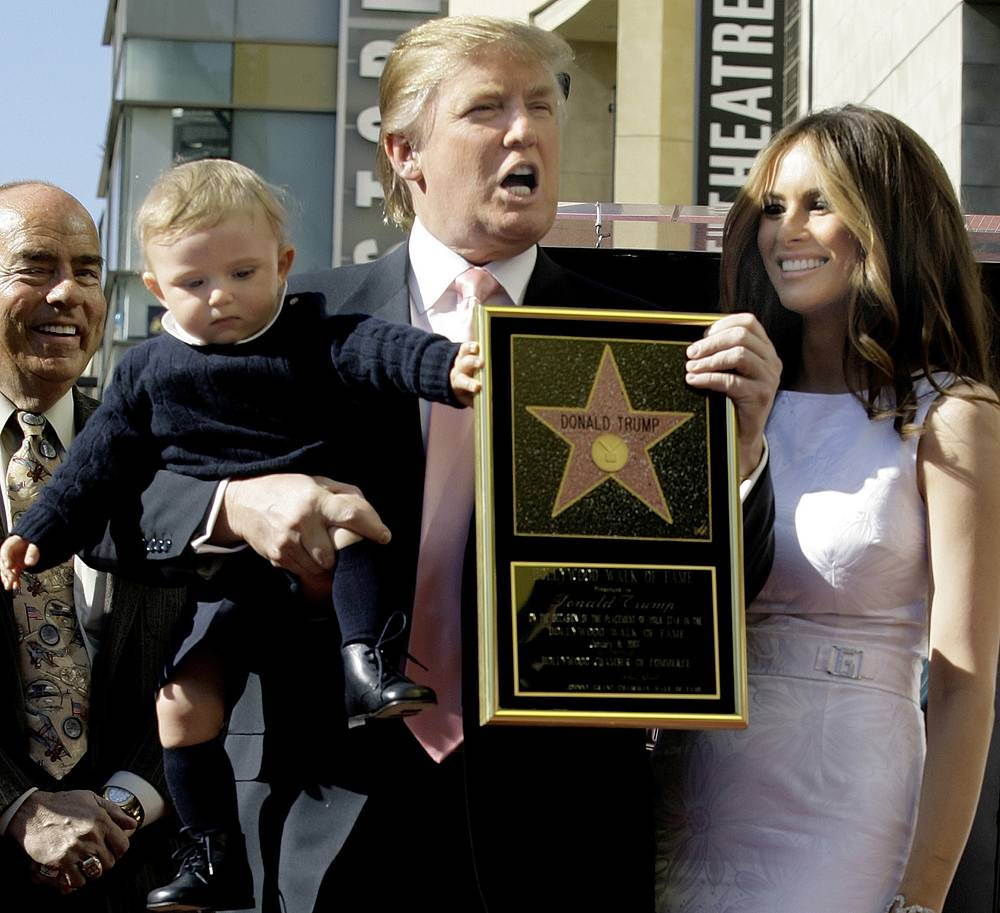 Donald Trump with his third wife, Melania, and their son, Barron, after he was given a star on the Hollywood Walk of Fame in Los Angeles, 2007