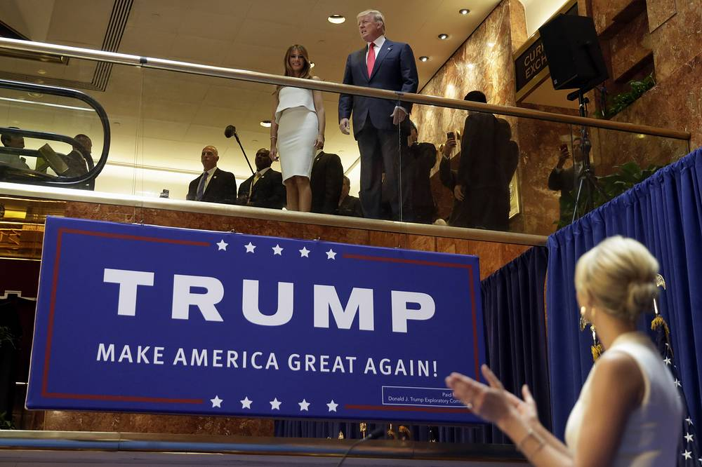 Donald and Melania Trump, applauded by Ivanka Trump, as he is introduced before his announcement that he will run for president in the lobby of Trump Tower in New York, 2015
