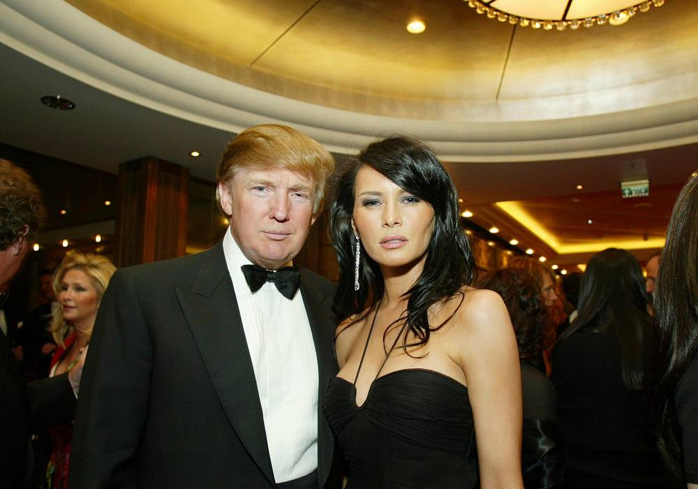 Donald Trump and Melania Knauss on board the Queen Mary 2, April 24, 2004