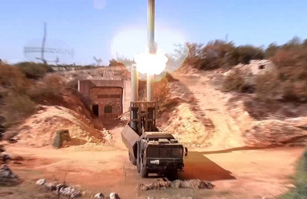K-300P Bastion-P Russian mobile coastal defense missile system fires an Onix missile against an ammunition depot of Islamic State militants in Syria