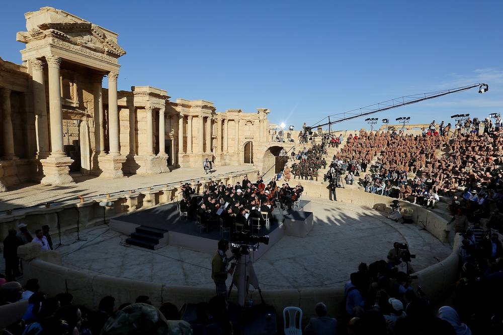 Mariinsky Theatre Symphony Orchestra performs a concert at the ancient Roman amphitheatre in the town of Palmyra, May 5