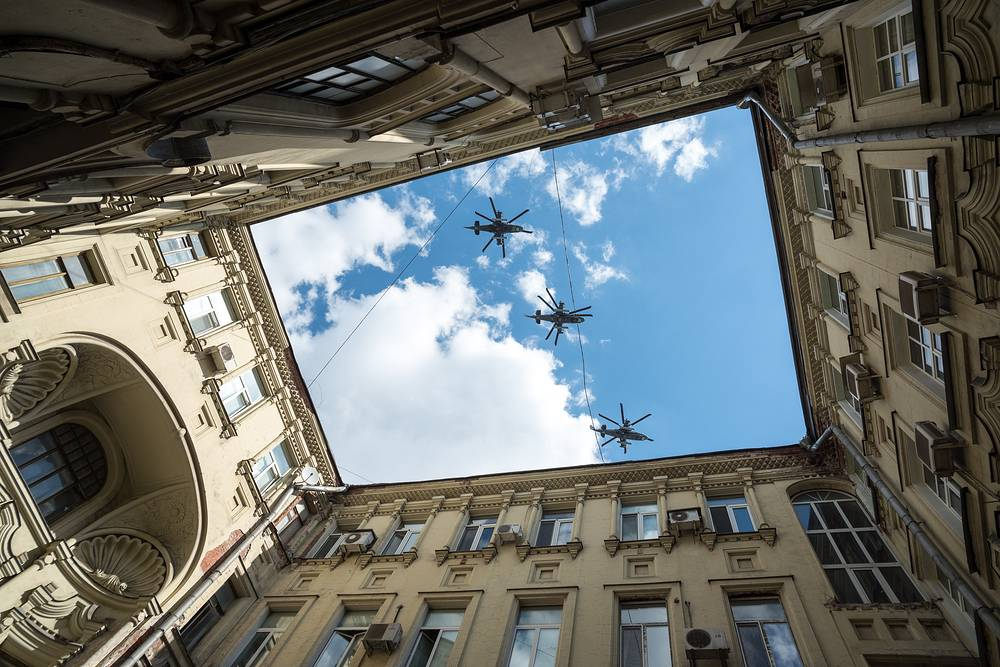 Kamov Ka-52 attack helicopters fly during a dress rehearsal of the Victory Day Parade, Moscow, May 7