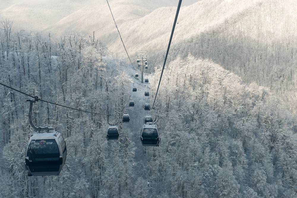 A gondola lift at the Rosa Khutor alpine resort in Krasnaya Polyana, Russia, December 17