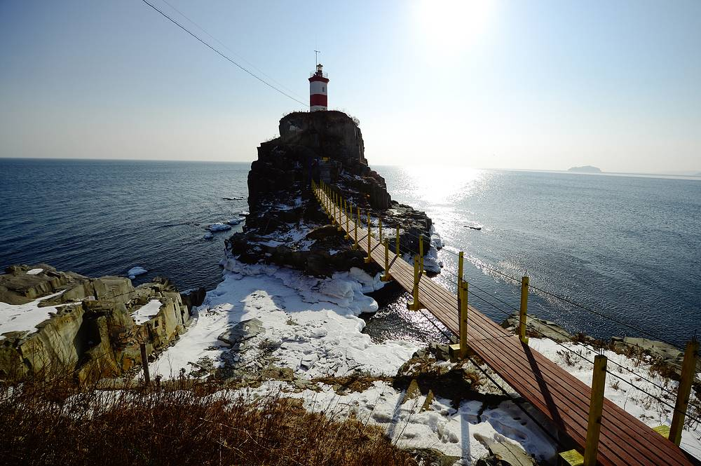 A view of the lighthouse on the Basargin Cape, Russia, January 7