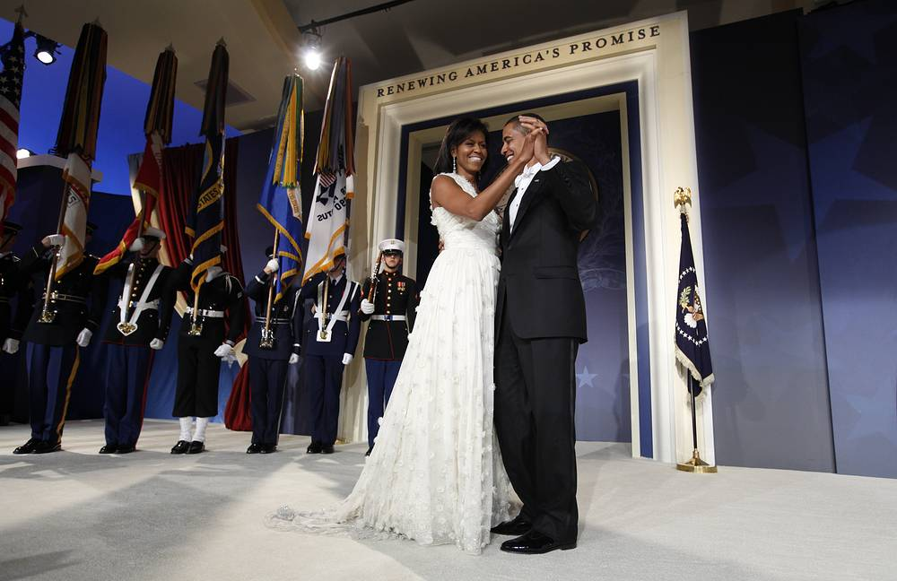 US President Barack Obama and first lady Michelle Obama at the Youth Inaugural Ball in Washington, 2009