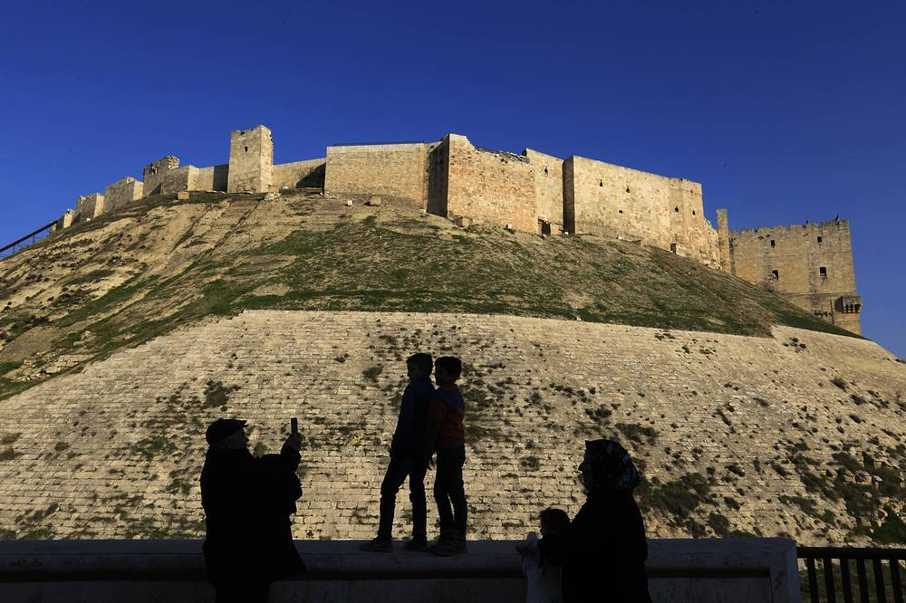 The Citadel of Aleppo, a large medieval fortified palace in the centre of the old city, was used as a military base by Syrian government troops