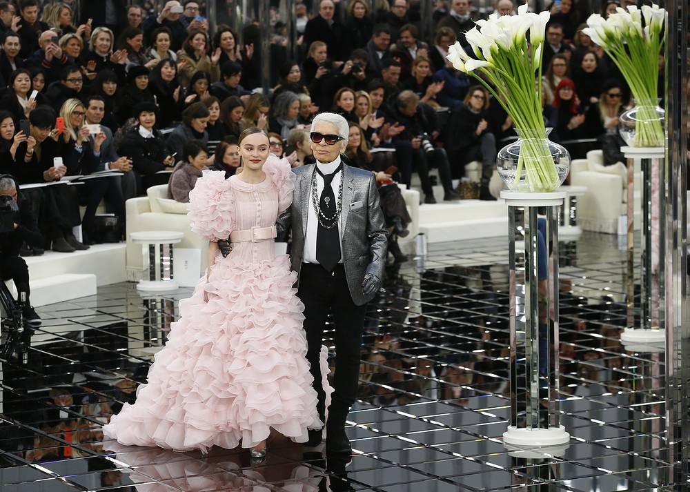 Lily-Rose Depp and German fashion designer Karl Lagerfeld at Chanel collection presentation