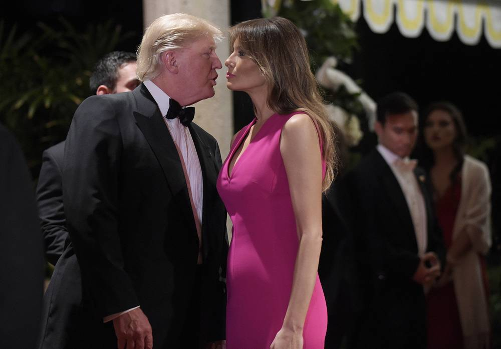 US President Donald Trump talks with first lady Melania Trump at the 60th annual Red Cross Gala at Trump's Mar-a-Lago resort in Palm Beach, USA, February 4