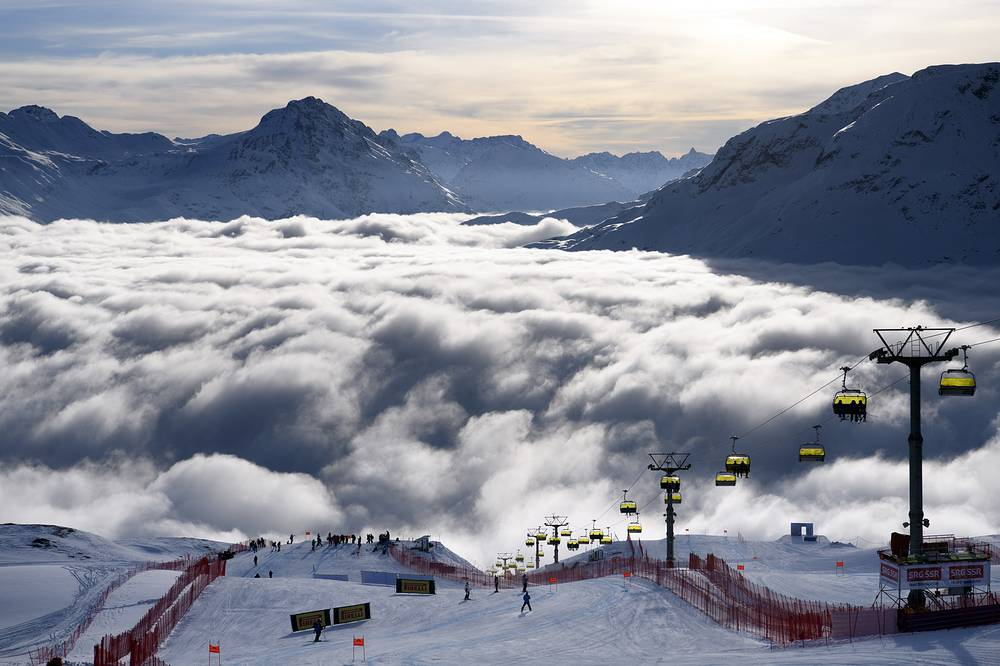 The sea of fog on the slope of the women downhill training at the 2017 FIS Alpine Skiing World Championships in St. Moritz, Switzerland, February 9