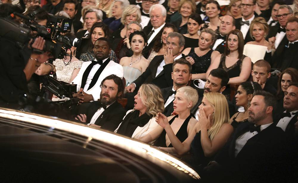 "Audience reacts to ""Moonlight"" being announced as best picture winner at the Oscars 2017"
