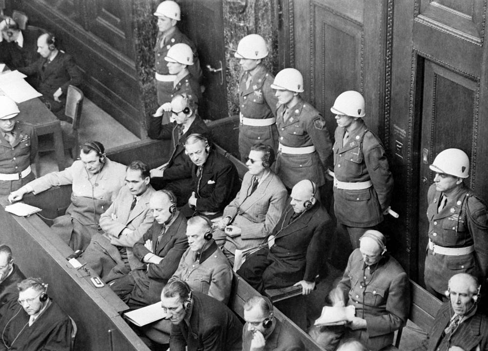 A session of the international Nuremberg trials against Hitler's leading henchmen accused of numerous war crimes and crimes against humanity during World War II, 1945
