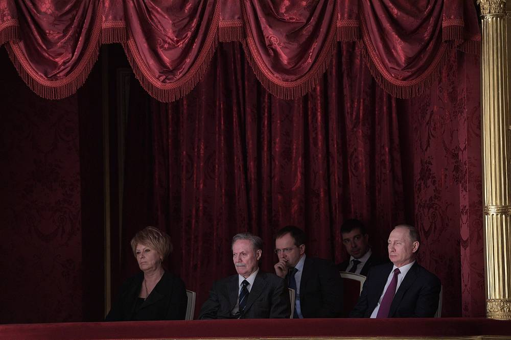 Maly Theatre directors, Tamara Mikhailova and Yuri Solomin, along with Culture Minister Vladimir Medinsky and Russian President Vladimir Putin watch the Last Sacrifice play, Moscow, Russia, March 23