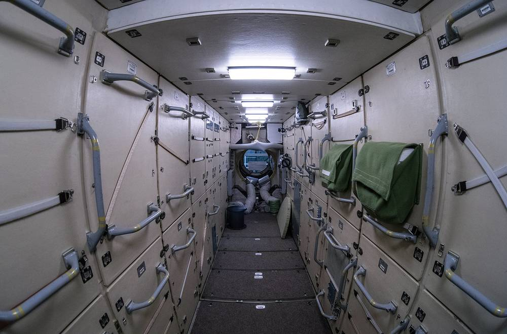 Inside the full-size mockup of Mir Space Station