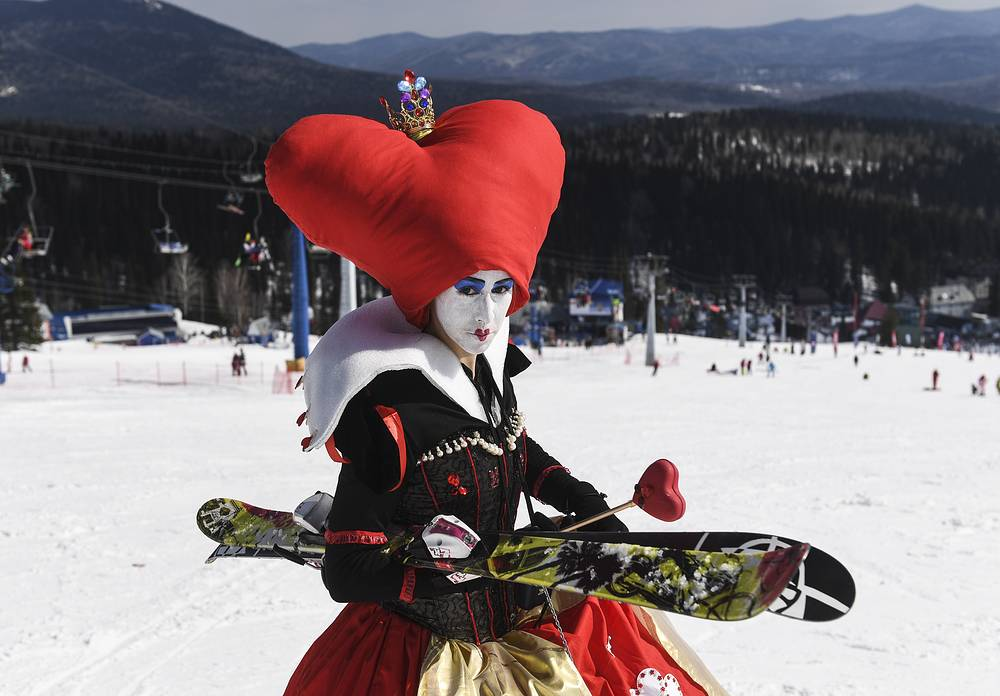 A participant in the Grelka Fest 2017 festival at the Sheregesh ski resort, Russia, April 8