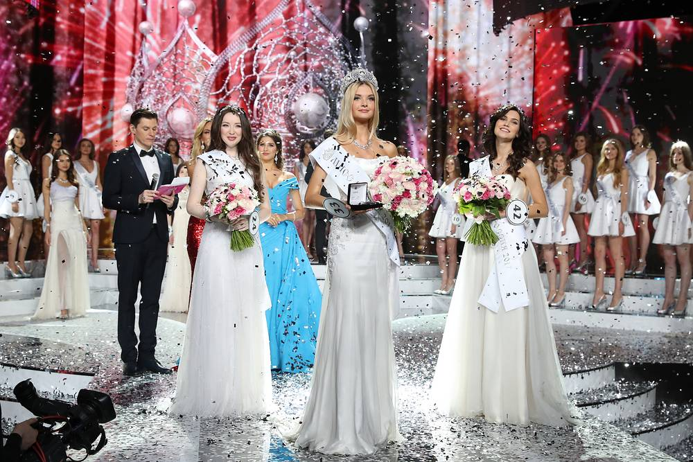 Miss Russia 2017 Polina Popova and two Miss Russia 2017 runners-up  Ksenia Aleksandrova and Albina Akhtyamova at the crowning ceremony in the final of the Miss Russia beauty contest, April 15
