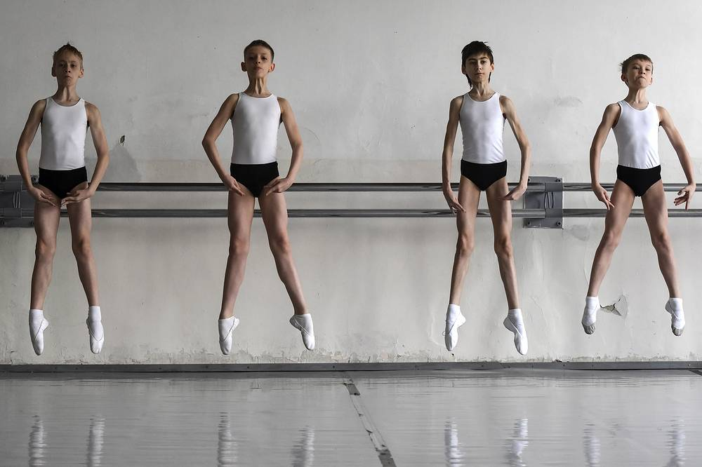Students attend a classical ballet class at the Novosibirsk State Ballet School, Russia, April 25