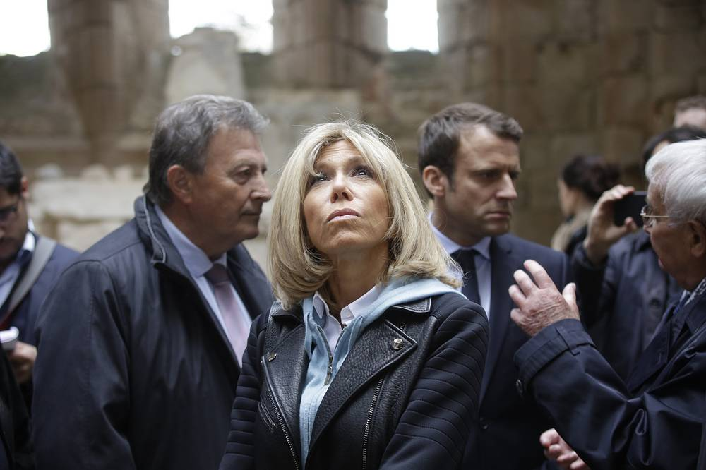 Emmanuel Macron and his wife Brigitte Macron, visit the French martyr village of Oradour-sur-Glane, central France, April 28, 2017