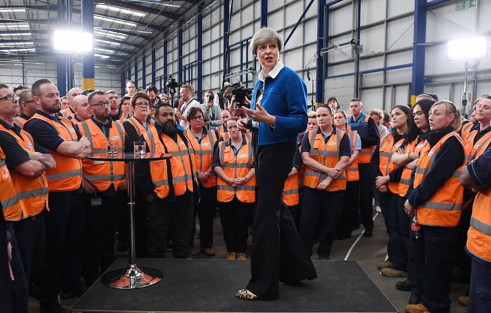 British Prime Minister Theresa May delivers a speech to workers at a company in Stoke-on-Trent, Britain, May 16